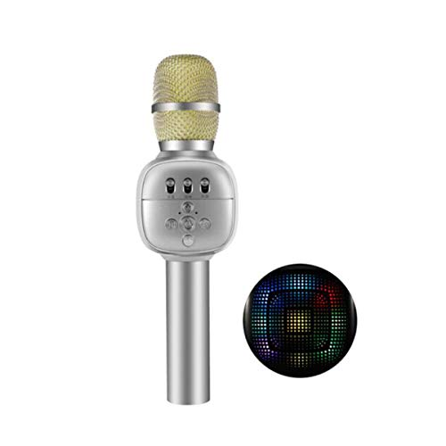 Hongyushanghang Karaoke, Wireless Bluetooth Microphone, Silver Digital Audio chip. (Color : Silver)