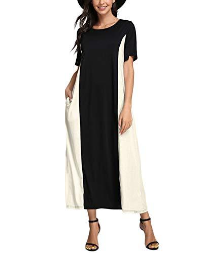 Celmia Summer Dresses for Women 2021 Maxi Dress Plus Size Beach Dresses Casual Double Color Colorblock Long Dress