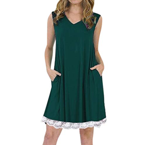 Tantisy ♣↭♣ Women's Summer Sleeveless Casual Loose Swing T-Shirt Dress with Pockets Pleated Lace Hem Design/S-5XL Green