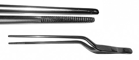 Gruenwald (Jansen) Thumb Forceps, Bayonet, Dressing Forceps, Serrated, Length: 6.25