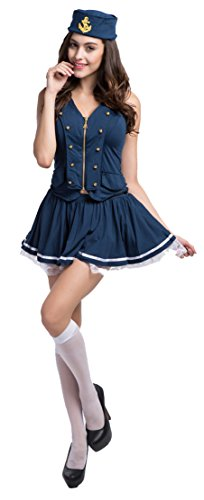 Fedo Design Nautical Doll Pin-Up Sailor Sea Captain Costume Anchors Away Lace (Pin Up Doll Halloween Costumes)