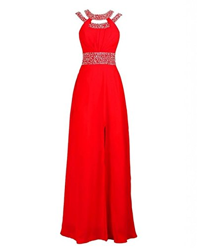 Red Lang Damen Kleider Ball Abendkleider Beaded Kleider Fanciest Blue Halter Royal Formelle gFUn8WdP