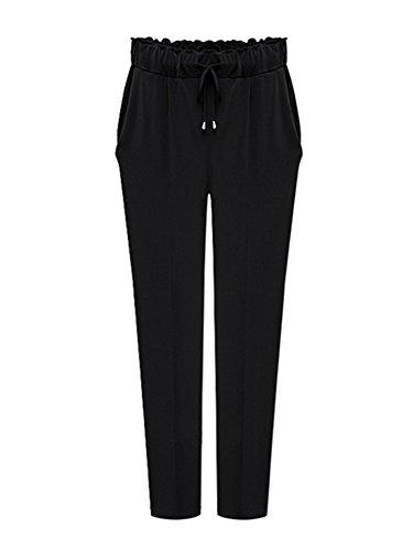 Pantalones Largos Mujer, Pantalòn Slim Elegantes Oficina Cintura Elástica Tela Negro