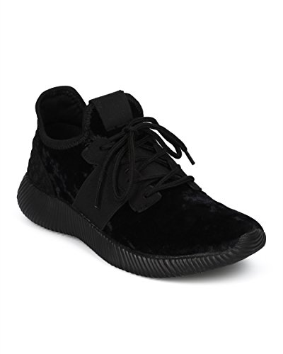 Alrisco Women Jogger Sneaker - Lace Up Low Top Jogger - Gym Exercise Work Out Running Shoe - HC83 by Liliana Collection Black Mix Media 5Dkh5hL