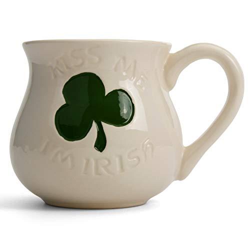 Milltown Merchants™ Kiss Me I'm Irish Mug - Ceramic St. Patrick's Day Coffee Mugs - Luck Of The Irish Coffee Cup Mugs