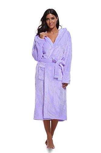 Luvrobes Womens Plush Fleece Hooded Robe Ultra-Soft Long Bathrobe (S/M,Lavender)