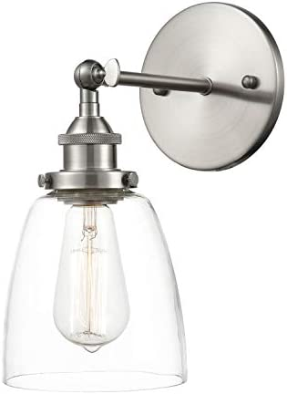 Light Society Camberly Wall Sconce, Clear Glass Shade with Brushed Nickel Finish, Modern Industrial Lighting Fixture LS-W130-SN