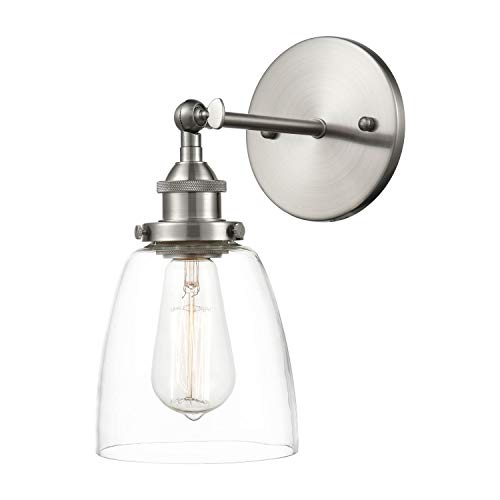 - Light Society Camberly Wall Sconce, Clear Glass Shade with Brushed Nickel Finish, Modern Industrial Lighting Fixture (LS-W130-SN)