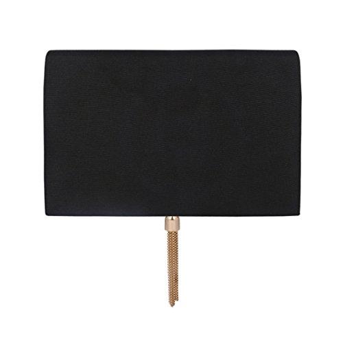 Evening Black Damara Metal Bag Clutch Women Fabric Tassel Rhinestone 8YrYBwPx