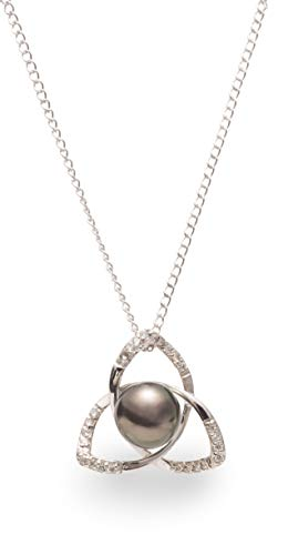 Sterling Silver Three Petal Pendant with Tahitian Cultured Pearl and White Sapphires