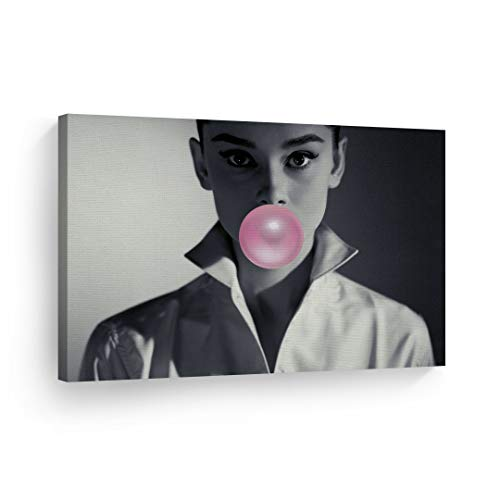(Audrey Hepburn Bubble Gum Chewing Gum Black and White Shirt Canvas Print Home Decor/Iconic Wall Art/Gallery Wrapped Canvas Art Stretched/Ready to Hang 30x40)