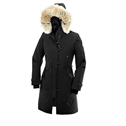 Women's Canada Kensington Winter Long Slim-Fitting Black Duck Down Parka-(XL)