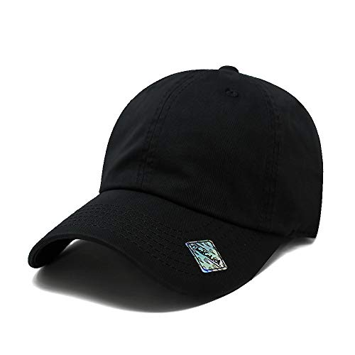 ChoKoLids Cotton Dad Hat Adjustable Blank Cap Low Profile Unstructured Polo Style (Black) ()