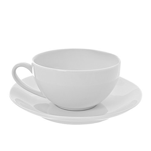 10 Strawberry Street Royal Coupe 10 Oz Oversized Cup and Saucer, Set of 6, White