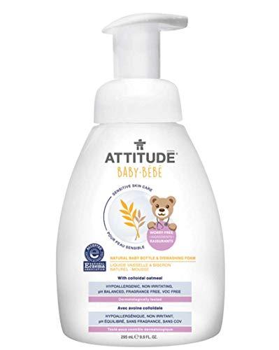 ATTITUDE Sensitive Skin, Hypoallergenic Baby Bottle & Dishwashing Foam, Fragrance Free, 9.9 Fluid Ounce