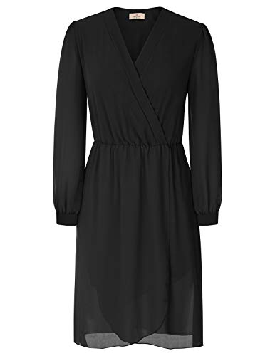 GRACE KARIN Women's Long Sleeve V-Neck Wrap Dresses Wear to Work Size L Black CL821-1 ()