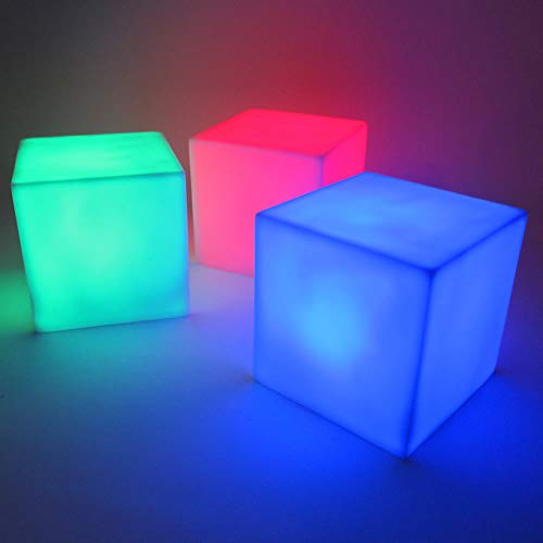 Light Up Centerpiece Cube Lamps (Set of 6) - Battery Operated Centerpiece Lamp LED Cube Lights with 8 Color Modes (Square Cube Shape) -