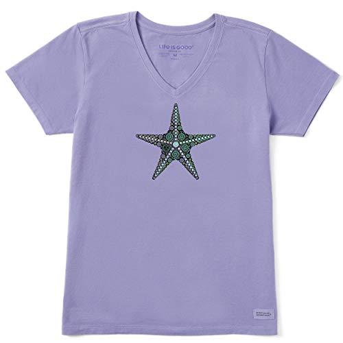 Life is Good Women's Womens Crusher V-Neck T-Shirt, Moonstone Purple, XL