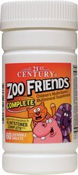 21st Century Health Care, Zoo Friends Complete, Children's Multivitamin Multimineral, 60 Chewable Tablets by 21st Century