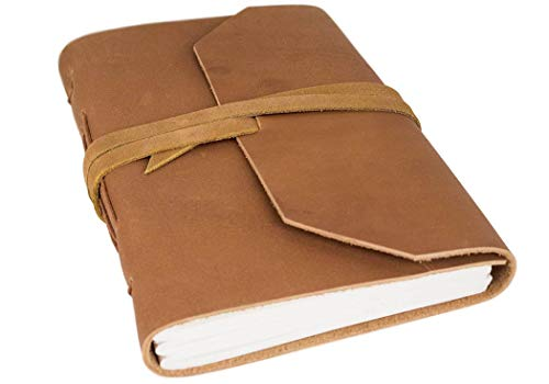 Life Arts Handmade Beatnik Leather Journal Tan, A5 Lined Pages