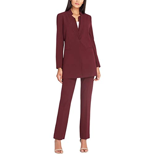 Tahari ASL Womens Petites Professional 2PC Pant Suit Red 4P