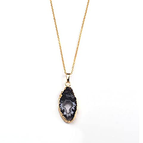 JOYA GIFT Geode Agate Druzy Natural Stone 14k Gold Plated Necklace Gifts for her - Grey Agate Stone