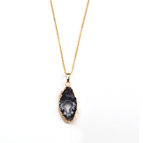 JOYA GIFT Geode Agate Druzy Natural Stone 14k Gold Plated Necklace Gifts for her
