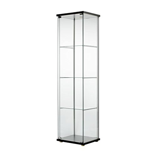 IKEA DETOLF Home Indoor Glass-Door Cabinet Black-Brown 101.1