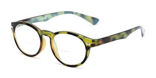 Readers.com Bifocal Reading Glasses: The Ivy League Bifocal, Retro Round Bifocal Reader for Women and Men - Green Tortoise/Blue, 2.75