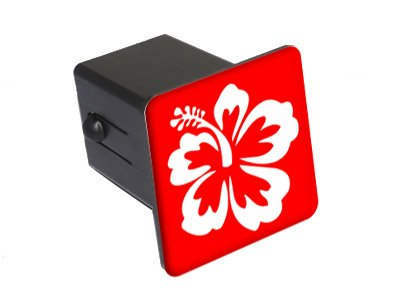 """Graphics and More Hibiscus Flower - White On Red - 2"""" Tow Trailer Hitch Cover Plug Insert"""
