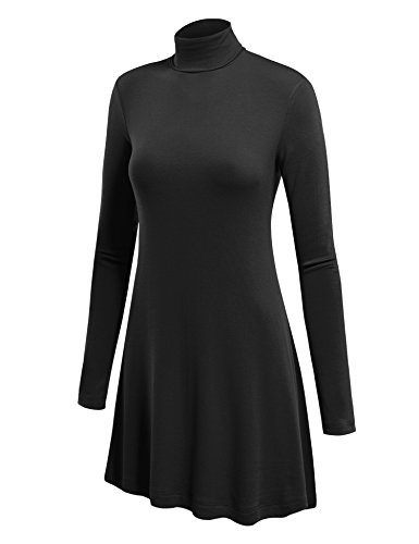 WT992 Womens Long Sleeve Turtleneck Sweater Tunic With Various Hem XL Black