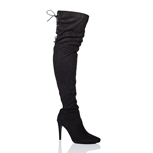 Suede Riding Toe high Womens Ladies The Up Elastic Size Pointed Black Knee Heel Ajvani Over Boots Stretch Lace AxBwZPqPg