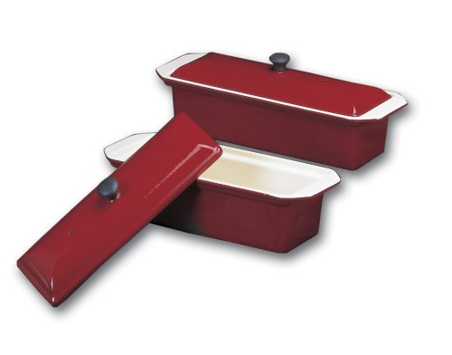 Chasseur large red enamel cast-iron pate terrine mold by Paderno World Cuisine