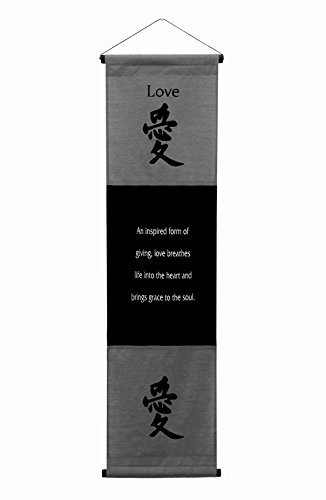 (G6 Collection Inspirational Wall Decor Love Banner Large, Inspiring Quote Wall Hanging Scroll, Affirmation Motivational Uplifting Message Art Decoration, Thought Saying Tapestry Love (Gray))