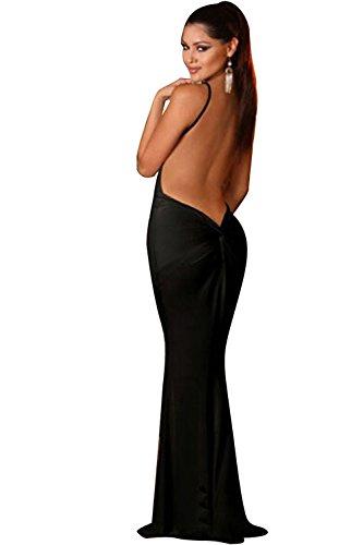 Neue Damen Schwarz tiefen VAusschnitt Rückenfrei Lange Kleid Pole ...