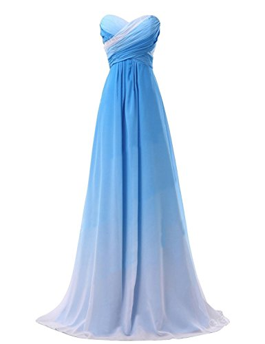 BessWedding Women's Ombre Chiffon Prom Dress 2019 Long Pageant Party Gown Blue Size 12