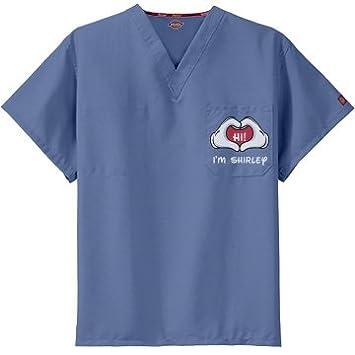 8e1017b082a Amazon.com: Friendly Nurse Shirley: Unisex Dickies V-Neck Scrubs Top ...