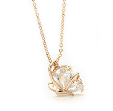 Amazoncom Cute Butterfly Zircon Plated 18k Gold Necklace Locket