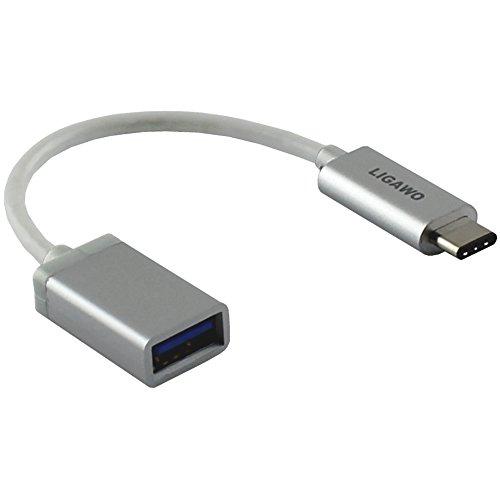 Ligawo 6518941 USB 3.1 Typ C Stecker zu USB 3.1 Typ A Buchse ( Adapter ) | Win 10 / Mac OS ab 10.2 / Linux / Google Chrome OS | - silber