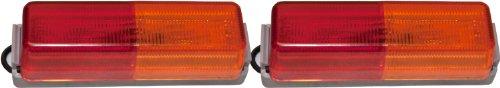 - 2 LED Trailer Fender Mount Lights Amber/Red Side Marker Clearance