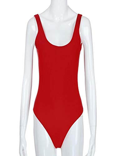 chuxin huang Women's Elastic High Cut Low Back Piece Bathing Suit Ruched Tummy Control Swimsuit Red