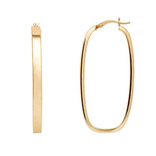 - Ellen Tracy Sterling Silver Yellow Plate Rectangular Hoop Earrings