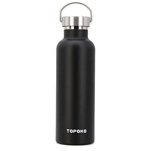 Price comparison product image TOPOKO 25 oz Stainless Steel Vacuum Insulated Water Bottle,  Keeps Drink Cold up to 24 hours & Hot up to 12 hours,  Leak Proof and Sweat Proof. Large Capacity Sports Bottle (black)