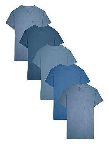 Fruit of the Loom Men's 5-Pack Tonal Blue Pocket T-Shirt, Assorted (5Pack), Large