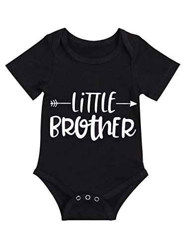 Newborn Baby Boy Little Brother Bodysuit Funny Jumpsuit Short Sleeve Cute Clothes (Black, 3-6 Month)