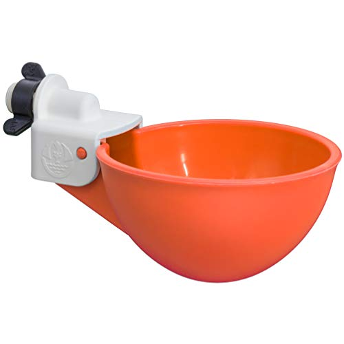 (4 Pack) Oasis Chicken Watering Cups | Drill Bit and Hardware Included! | Fully Automatic Poultry Waterers | No Floats or Tabs to Peck! | Qty: 4 (Orange)