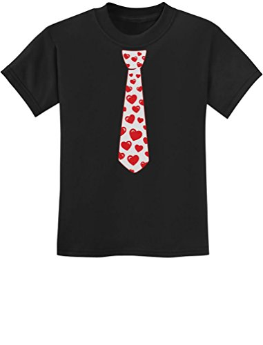 Tstars - Red Hearts Tie Valentine's Day Love Youth Kids T-Shirt Small Black