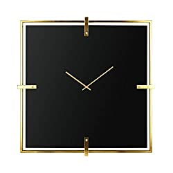 CC Home Furnishings 36 Black and Gold Colored Square Shaped Glass Wall Clock