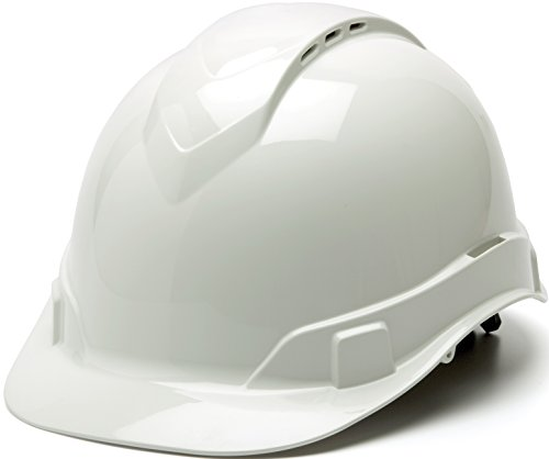 (Pyramex Ridgeline Vented Cap Style 4 Pt Ratchet Suspension Hard Hat, White)