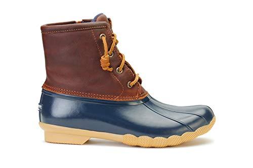 Sperry Women's Saltwater Rain Boot, Tan/Navy, 7 M US -